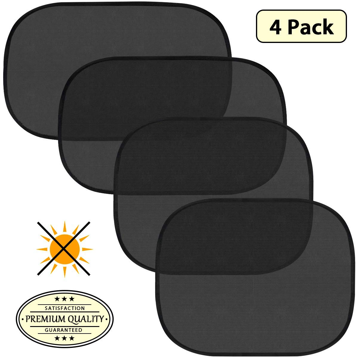 Car Sun Shade, Pudolla 4PCS Car Side Rear Window Cling Sunshades- 80 GMS 15s Film for UV Protection, Protect Child Infant Baby by Pudolla