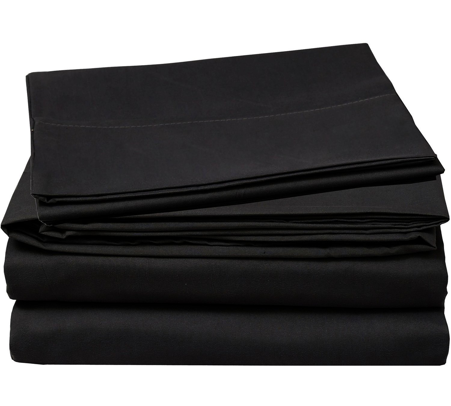 4 Piece Bed Sheets Set Queen, Black Flat Sheet