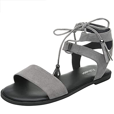 5f4a39084618 Women s Wide Width Flat Sandals - Comfortable Lace Up Ankle Strap Casual  Shoes.(180308