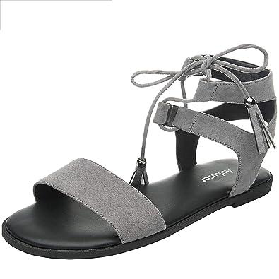 077d89ff67da Women s Wide Width Flat Sandals - Comfortable Lace Up Ankle Strap Casual  Shoes.(180308
