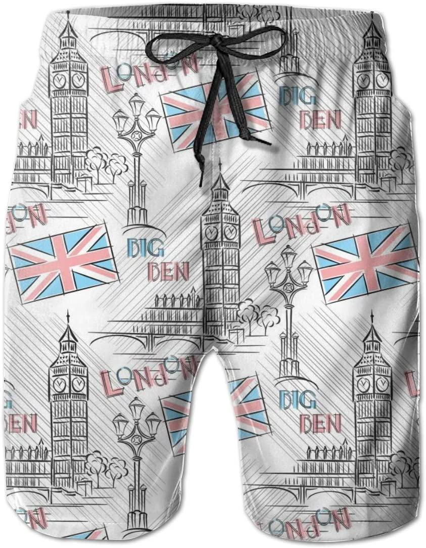 HZamora/_H Mens Big Ben London Summer Breathable Quick-Drying Swim Trunks Beach Shorts Cargo Shorts