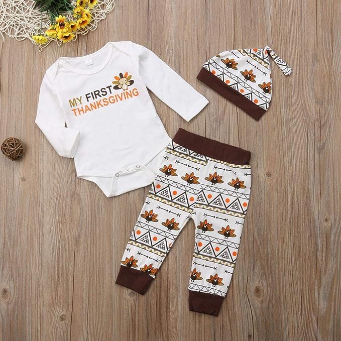 5cd5a6841 Amazon.com: Newborn Baby Girl Boy Thanksgiving Costumes,Kid Long Sleeve  Turkey Romper Tops Pant Leggings Hat,3pcs Outfits: Clothing