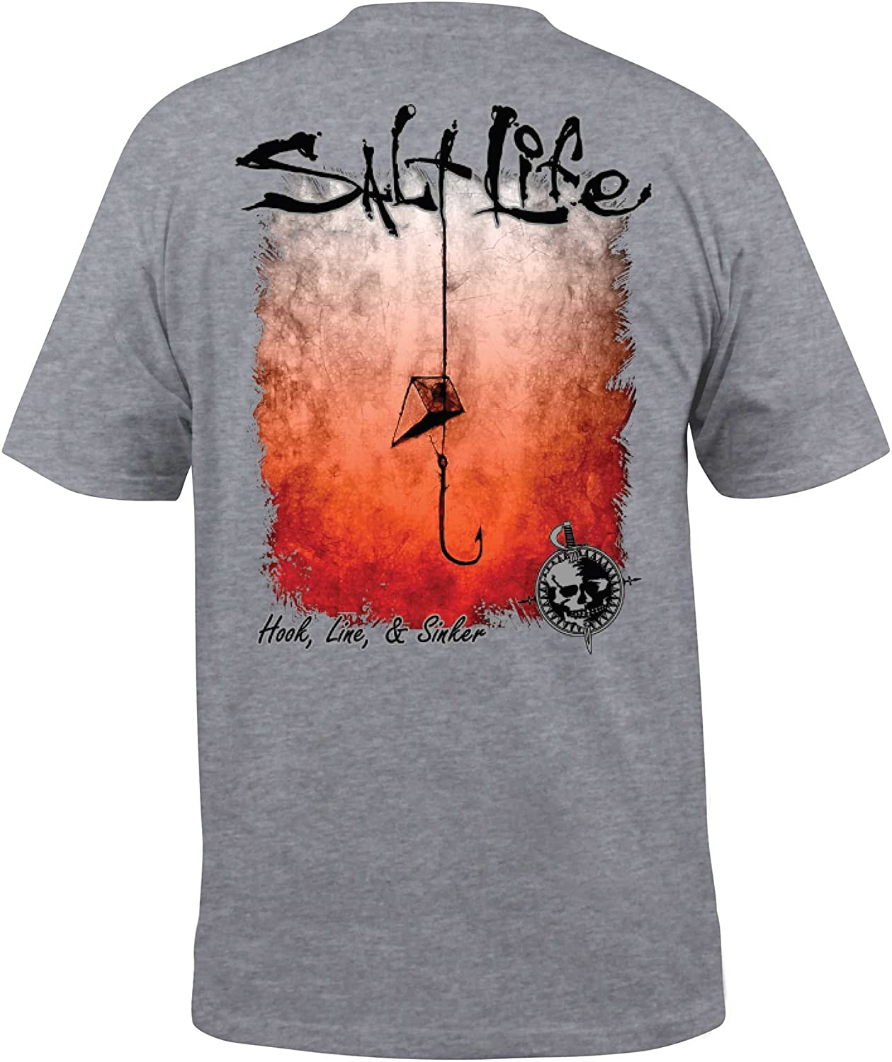 7fb2a653444f Amazon.com: Salt Life Men's Hook Line and Sinker Fade T-Shirt: Clothing
