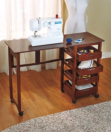 Nueva mesa de máquina de coser Craft Hojas de gotas de baldas de almacenamiento sauder Gabinetes Singer ordenador Escritorio plegable: Amazon.es: Oficina y papelería