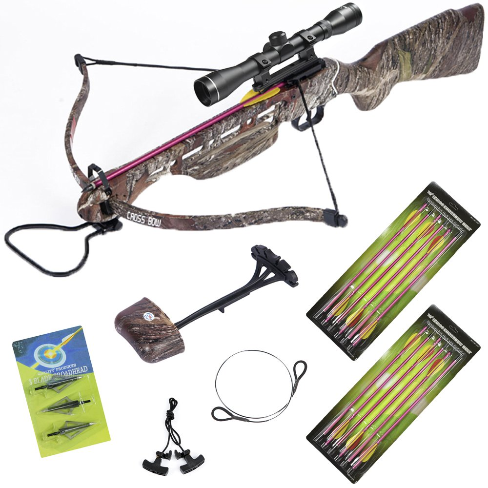 150 lb Desert Camouflage Hunting Crossbow +4x32 Scope +14 Arrows +Quiver +3 Broadheads +Rope Cocking Device +Stringer
