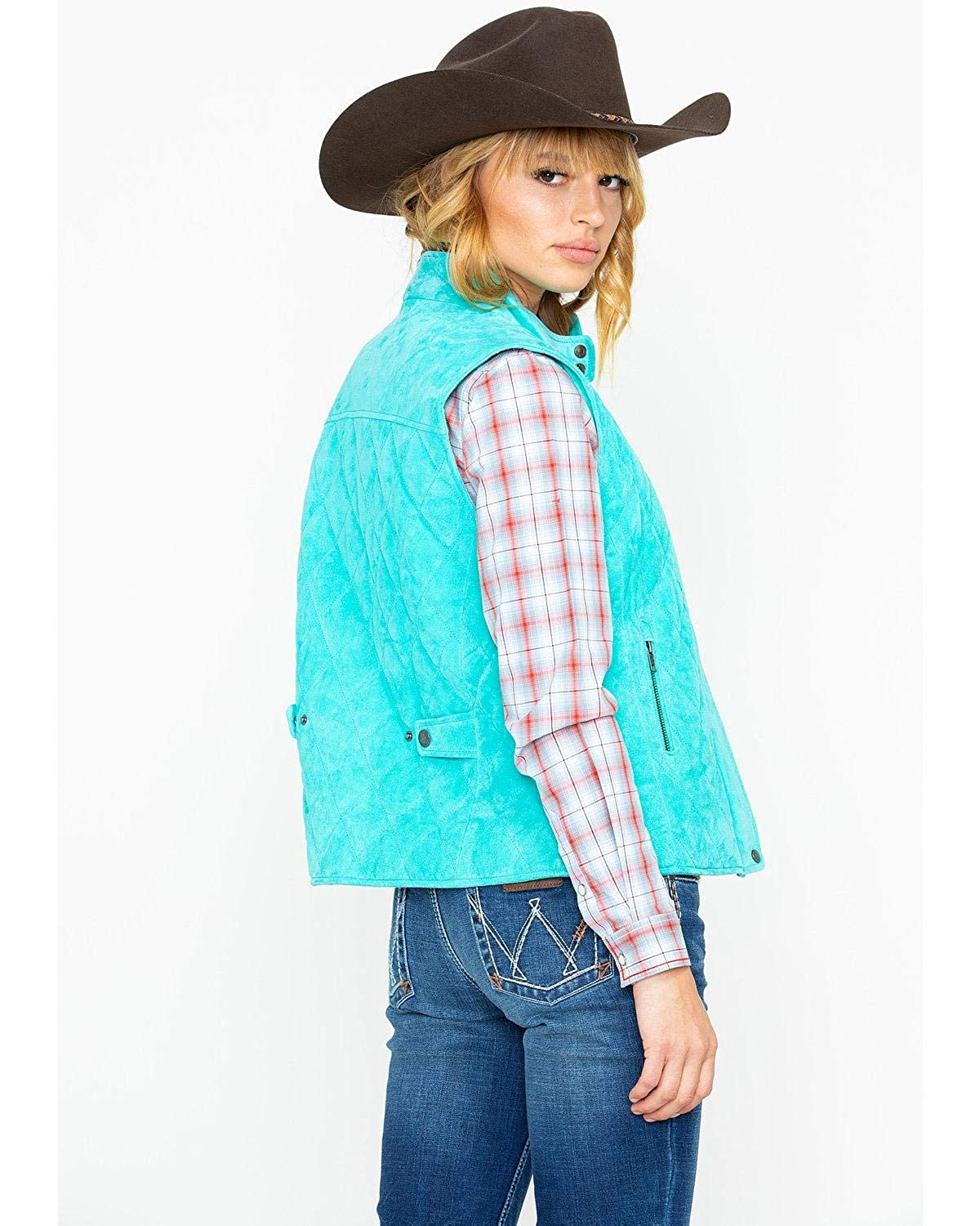 Cripple Creek Womens Turquoise Quilted Zip Snap Front Vest 2000253645