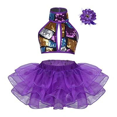 Yeahdor Kids Girls' Shiny Jazz Hip-hop Dance Stage Performance Mesh Tutu Dress Sequined Dancewear Cheerleading Uniform: Clothing
