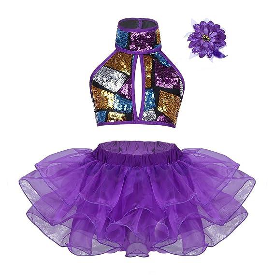 Alvivi Traje de Danza Jazz Ballet Niña Lentejuelas Brillantes Disfraces Baile Conjunto Crop Tops Halter+Falda Tutú+Pinza de Cabello Pelo Infantil para ...