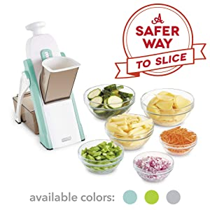 DASH DSM100GBAQ04 Safe Slice Mandoline for Vegetables, Meal Prep & More with Thickness Adjuster, Aqua