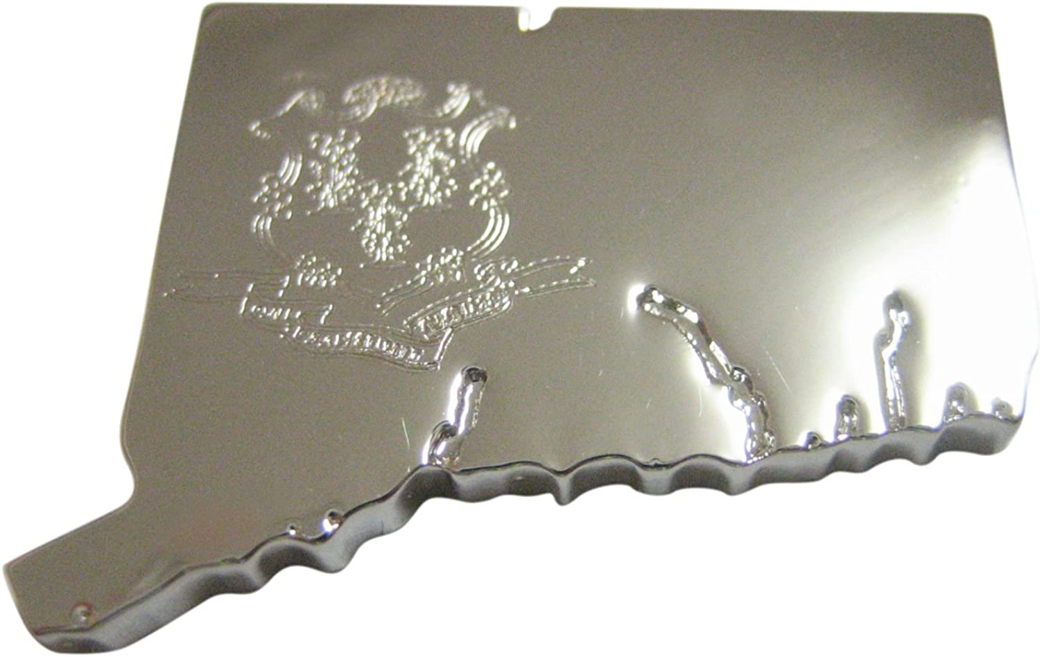 Connecticut State Map Shape and Flag Design Magnet