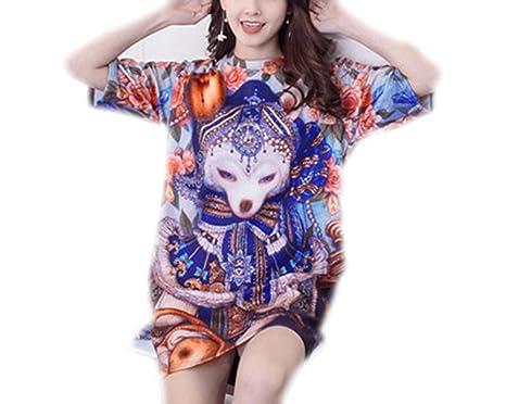 SAFJK Women Casual Summer 3D Cartoon Straight Dress Print Camouflage Shirt Vestidos Picture Color L