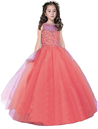 Sarahbridal Little Girls Dress Flower Summer Princess Dresses Bridesmaid Pageant Dress Coral 4 Years