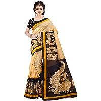 Dhruvi Trendz Women's Khadi Cotton Silk Printed Saree With Blouse Piece Material