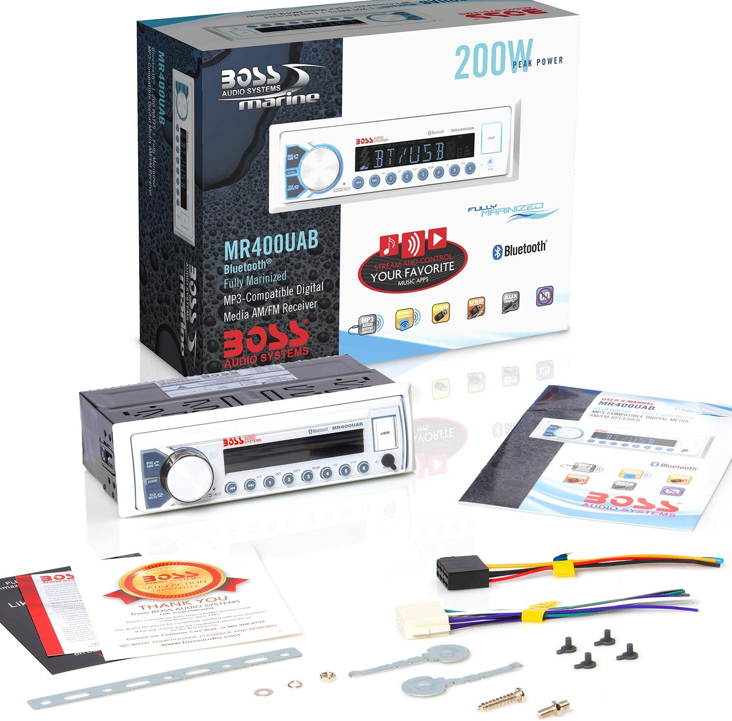 "BOSS Audio Systems MCK400WB.6 Weatherproof Marine Package-MR400UAB Receiver AM//FM Radio Bluetooth Audio No CD Player MR6W 6.5/"" Speakers USB//MP3 3 Pack"