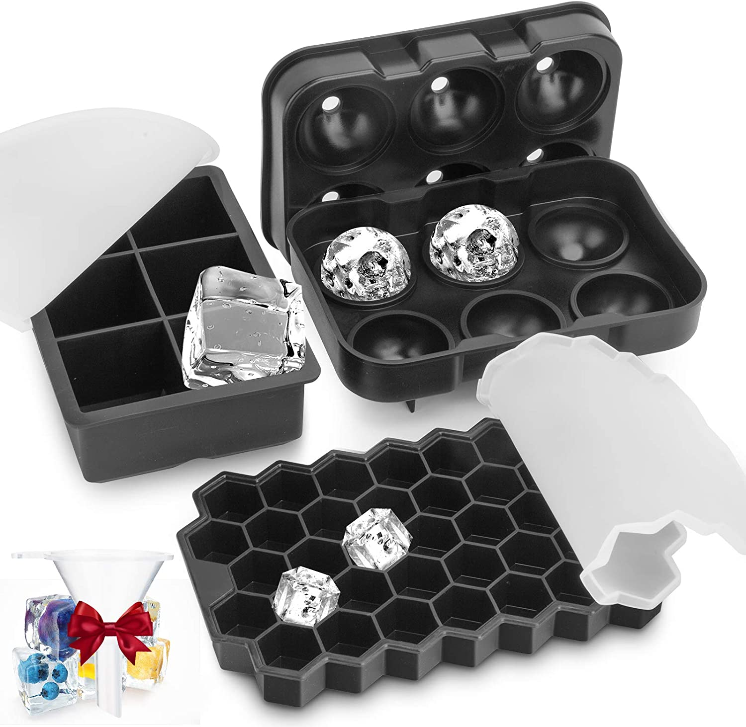 Ice Cube Tray, 3 Pack Food Grade Ice Cube Molds for Cocktail Whiskey, BPA-Free Silicone Ice Trays with Lids