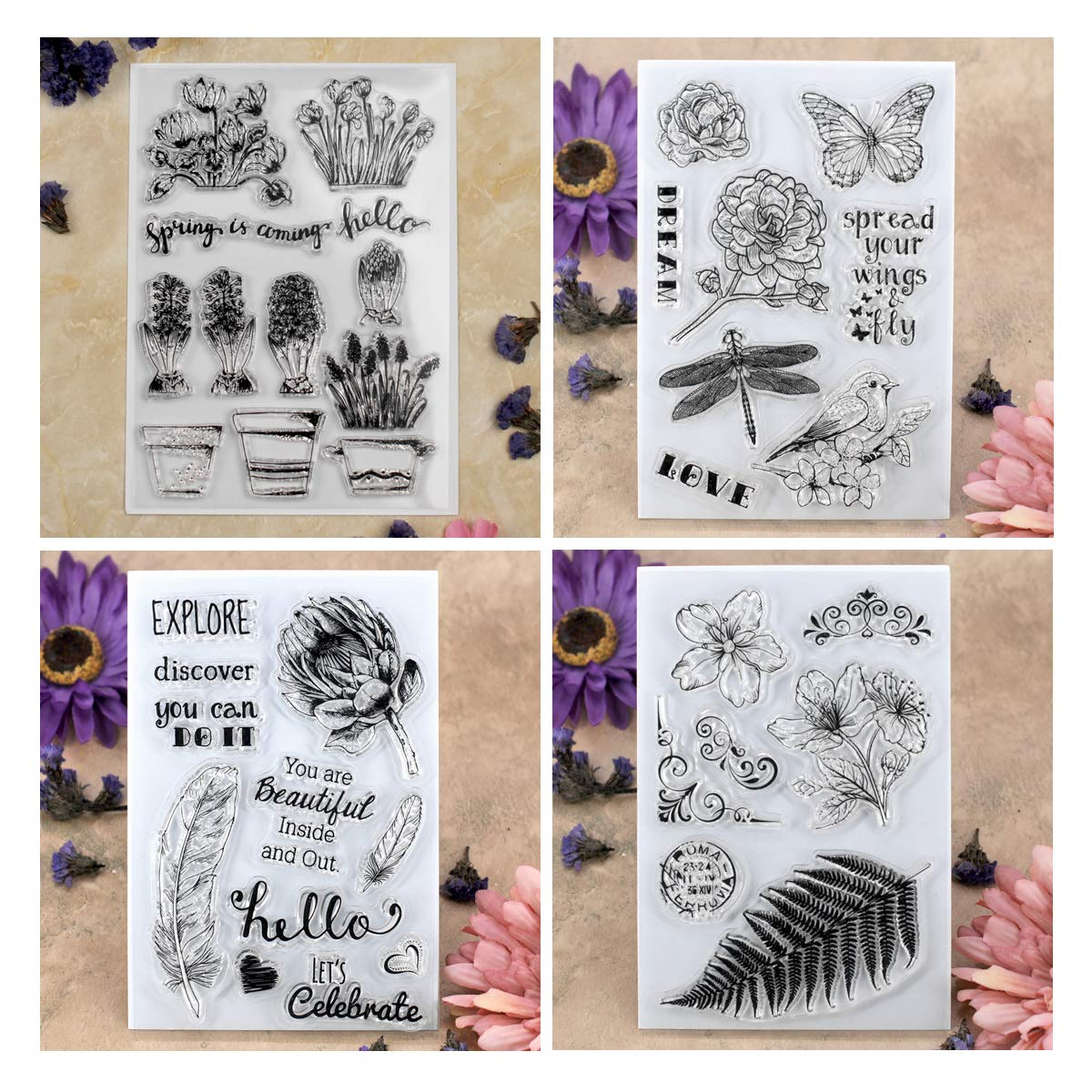 Kwan Crafts 4 Sheets Different Style Flowers Plant Clear Stamps for Card Making Decoration and DIY Scrapbooking