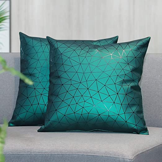 Lewondr Waterproof Outdoor Patio Pillow Cover 2 Pack Soft Faux Leather Throw Pillow Case Geometric Decorative Cushion Cover For Sofa Bed Car Couch Home Decor 18 X18 45x45cm Night Green Home Kitchen