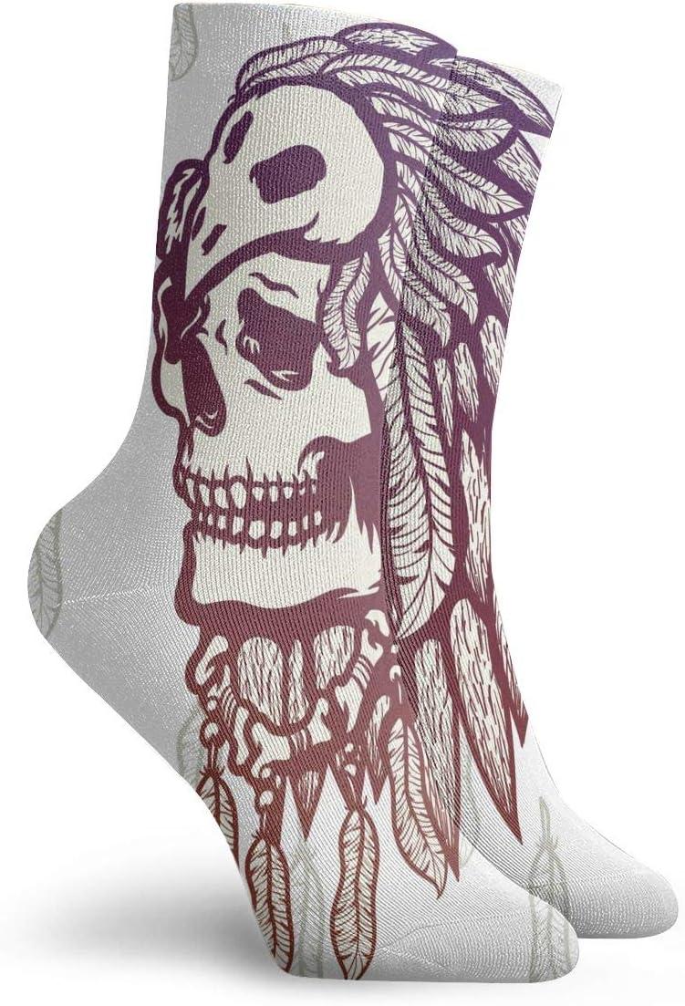 WEEDKEYCAT Shaman Skull Illustration Adult Short Socks Cotton Funny Socks for Mens Womens Yoga Hiking Cycling Running Soccer Sports