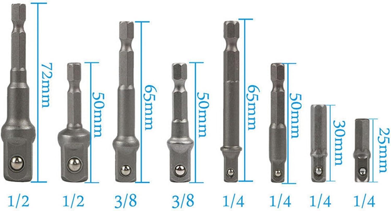 """1//2/"""" Puissance Extension Bar Set RF 3//8/"""" 8X douille embout Adaptateur Perceuse NUT DRIVER 1//4/"""""""