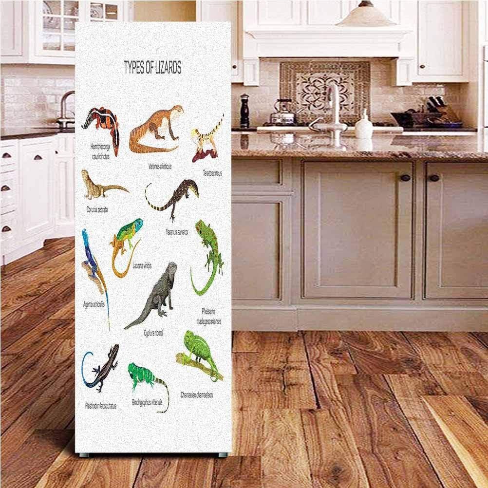 Angel-LJH Reptiles ONE Piece Door Sticker,Lizard Family Design Primitive Reptiles Camouflage Exotic Creatures Home Design Wall Decal Hallway Mural for Door/Wall/Fridge,24x70