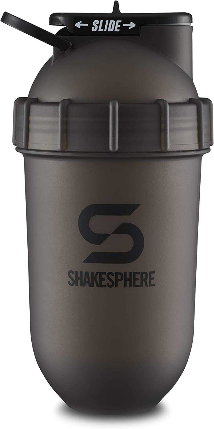 ShakeSphere Tumbler: Protein Shaker Bottle, 24oz ● Capsule Shape Mixing ● Easy Clean Up ● No Blending Ball or Whisk Needed ● BPA Free ● Mix & Drink Shakes, Smoothies, More (Frosted Black)
