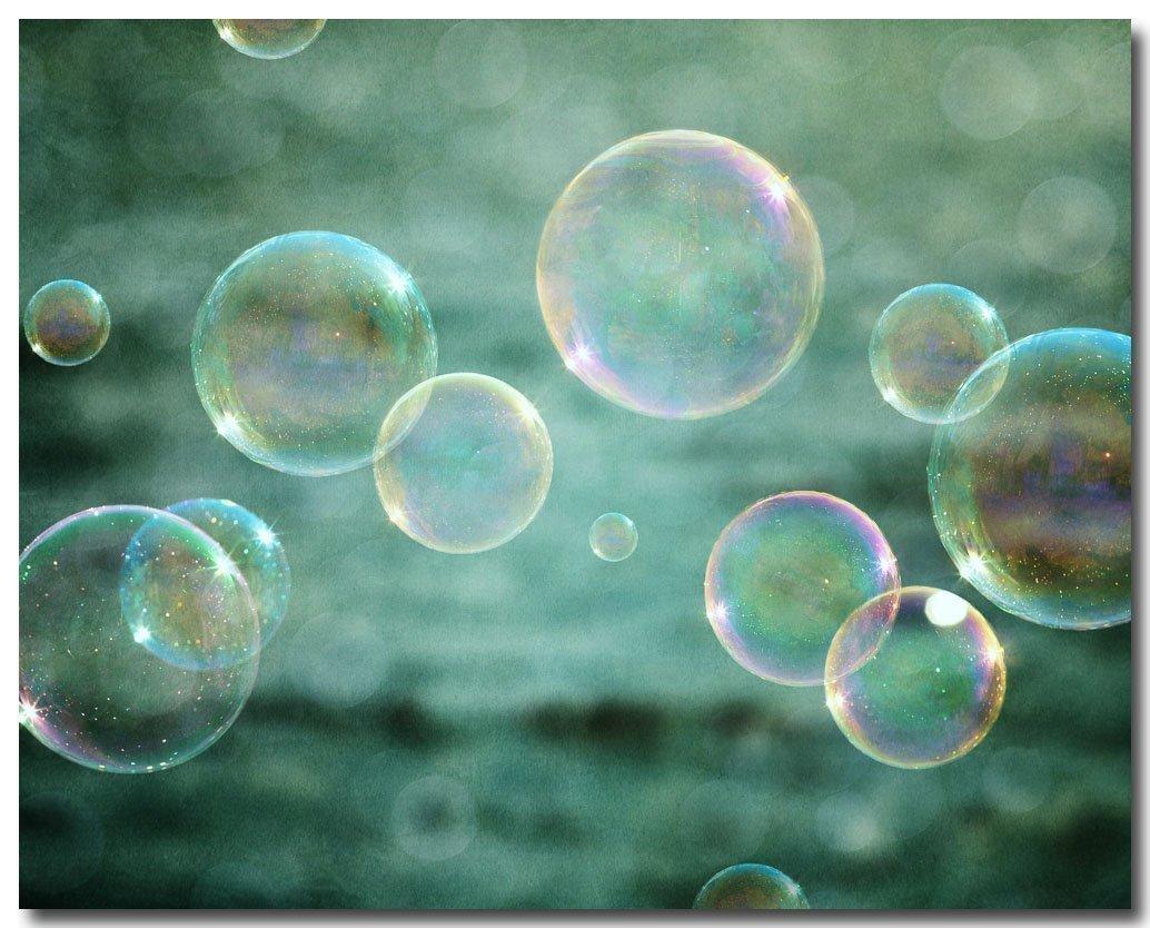 FBMB Kids Bathroom or Nursery Decor Wall Art Print Not Framed Teal Abstract Bubbles 11x14 or 16x20. 8x10