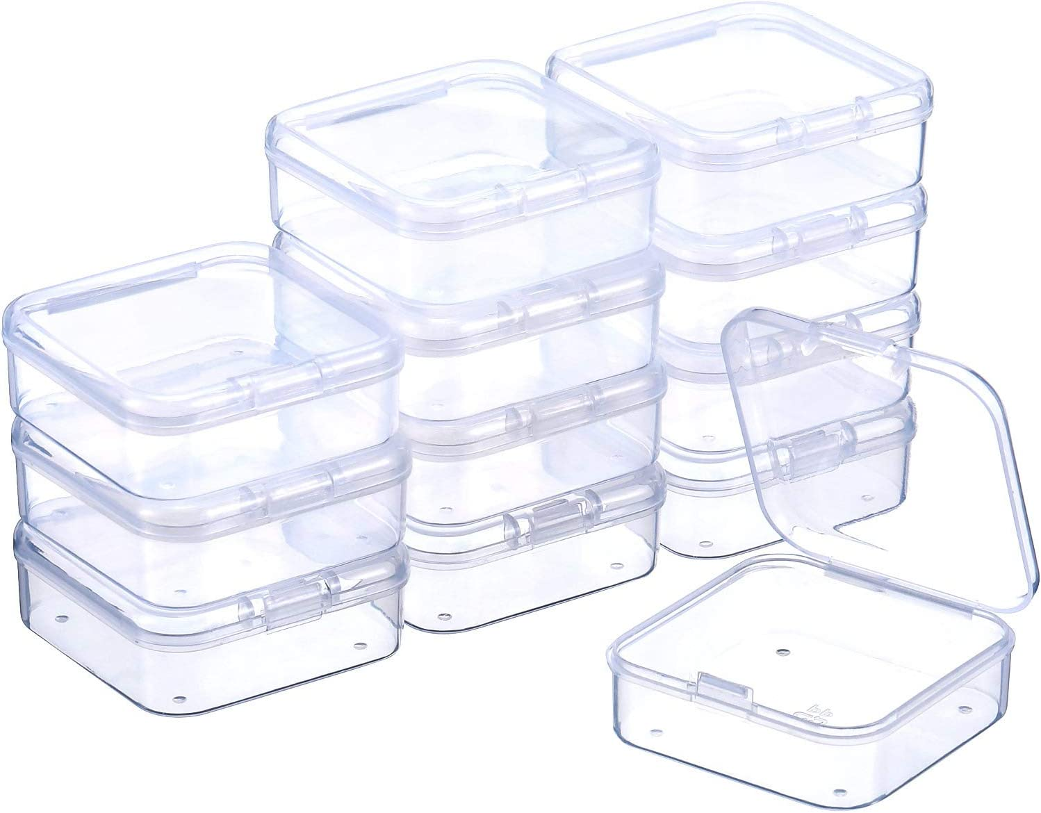 12 Pack Clear Plastic Beads And More Storage Containers Box with Hinged Lid USA