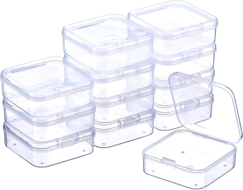 SATINIOR 12 Piezas Contenedor de Abalorios de Plástico Transparente Caja con Tapa de Bisagras para Abalorios y Más (2.12 x 2.12 x 0.79Pulgadas)