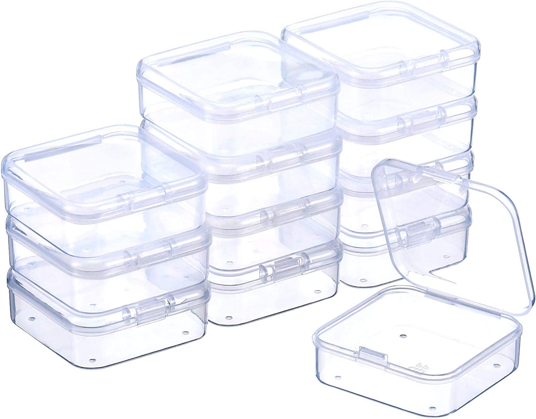 3,3 x 3,3 x 1,2 Pulgadas SATINIOR 12 Piezas Contenedor de Abalorios de Pl/ástico Transparente Caja con Tapa de Bisagras para Abalorios y M/ás