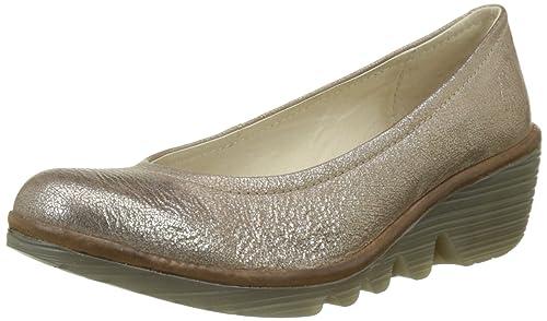 Yupi840fly, Zapatos de Tacón con Punta Cerrada para Mujer, Dorado (Luna/Camel), 38 EU FLY London