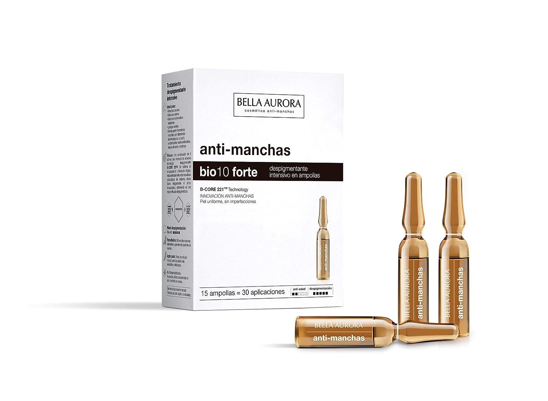 Bella Aurora Bio10 Tratamiento Facial Anti-Manchas para Mujer Día y Noche Elimina las Manchas de la Piel, 15 Ampollas para la Cara