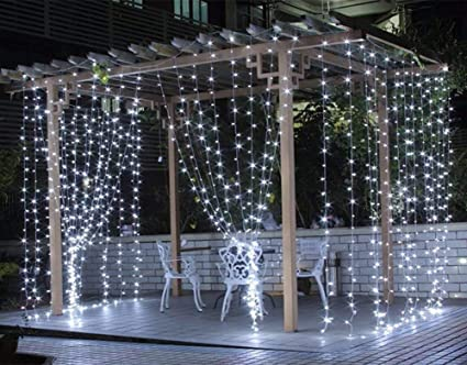 Details about  /3*3m LED Curtain Waterful String Lights For Xmas Garden Wedding Decor Outdoor US