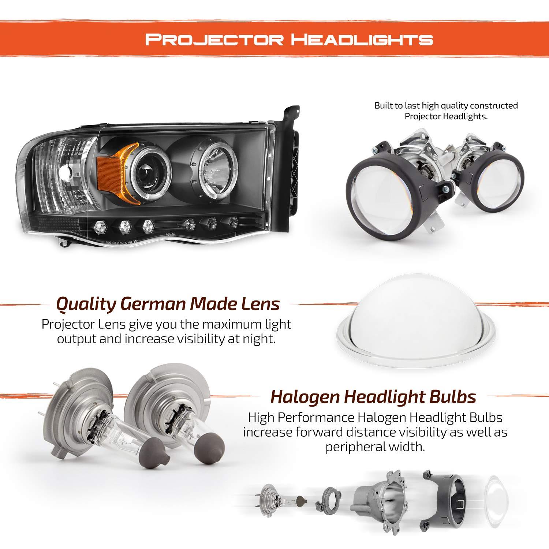 For 2002-2005 Dodge Ram 1500 2003-2005 Ram 2500 3500 Black Dual Halo Projector Headlights Pair Set