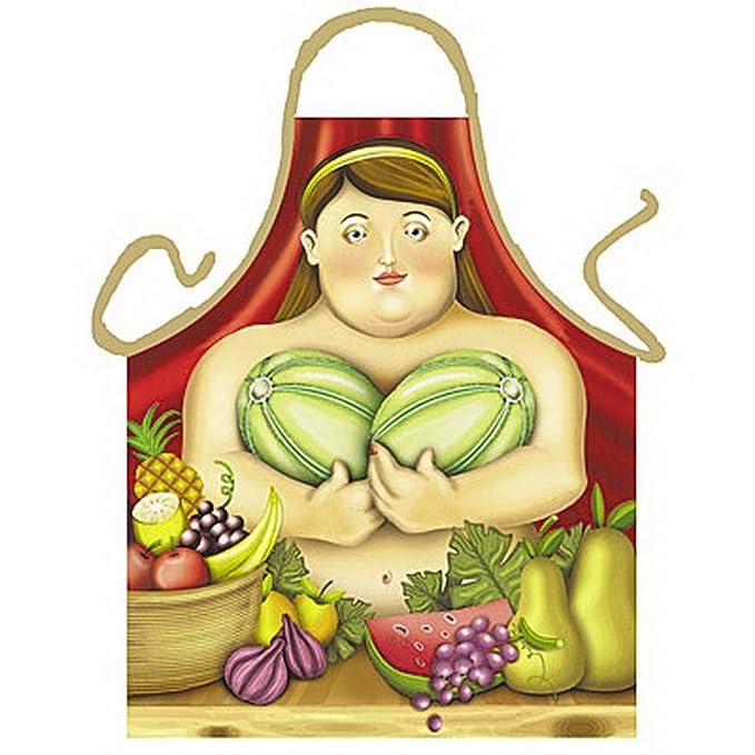 Delantal – – Mujer con melones – divertido diseño Delantal como regalo para barbacoa Fans con