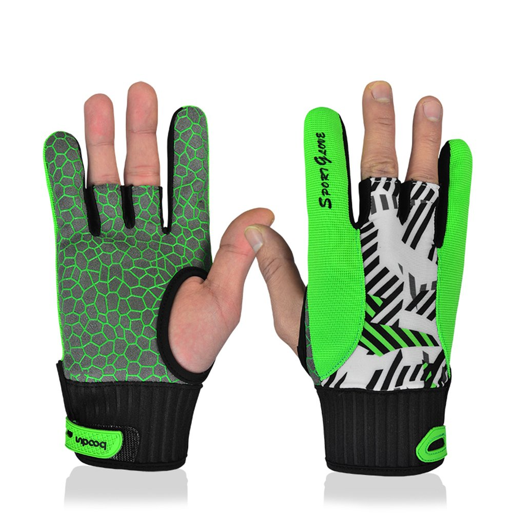 Professional Anti-Skid Bowling Bloves Comfortable Bowling Accessories Semi-finger Instruments Sports Gloves Mittens for Bowling (Green, M)