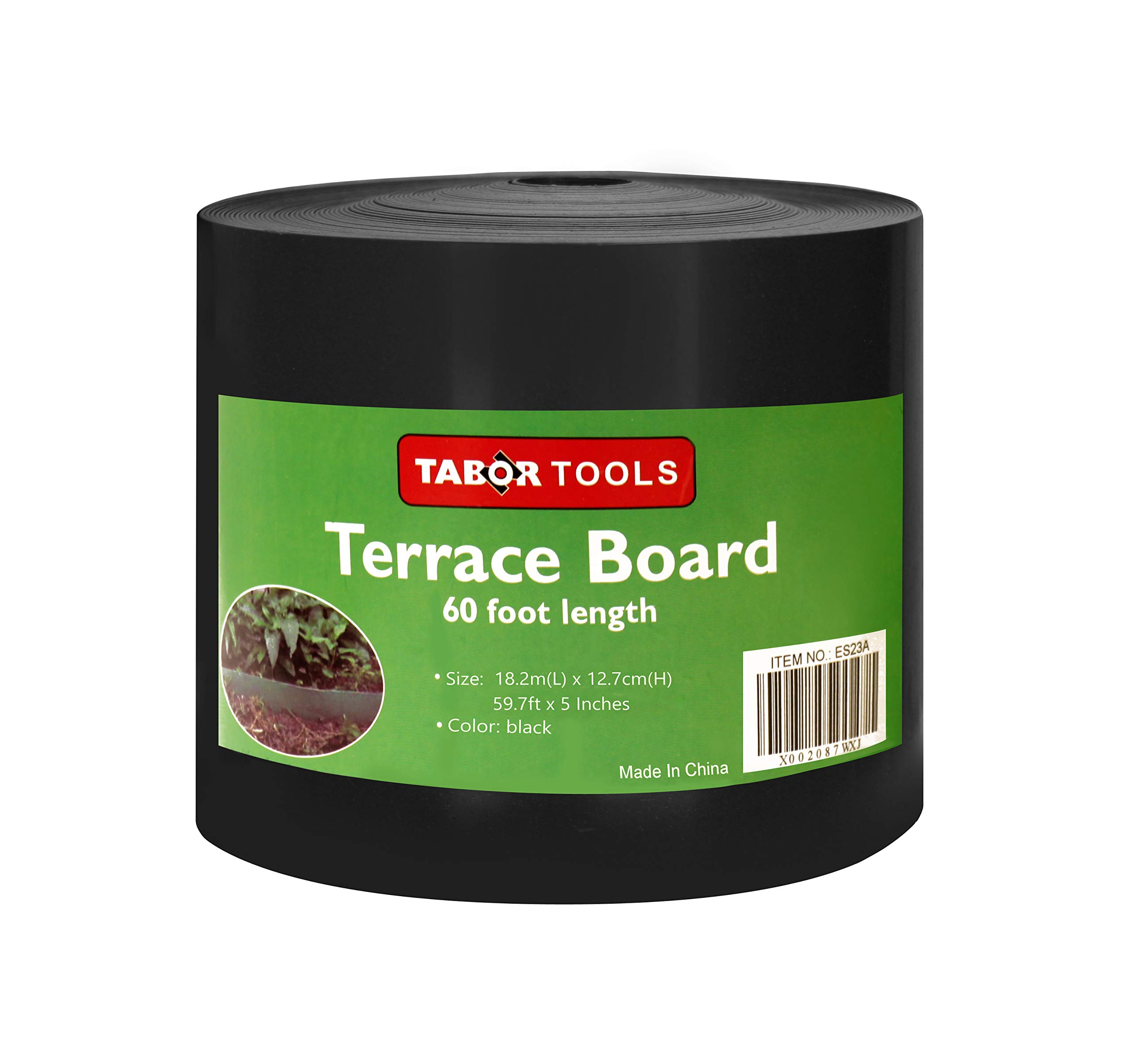 TABOR TOOLS Terrace Board, Landscape Edging Coil, 1/25 Inch Thick, 5 Inch High. ES24. (60 Feet, Black)