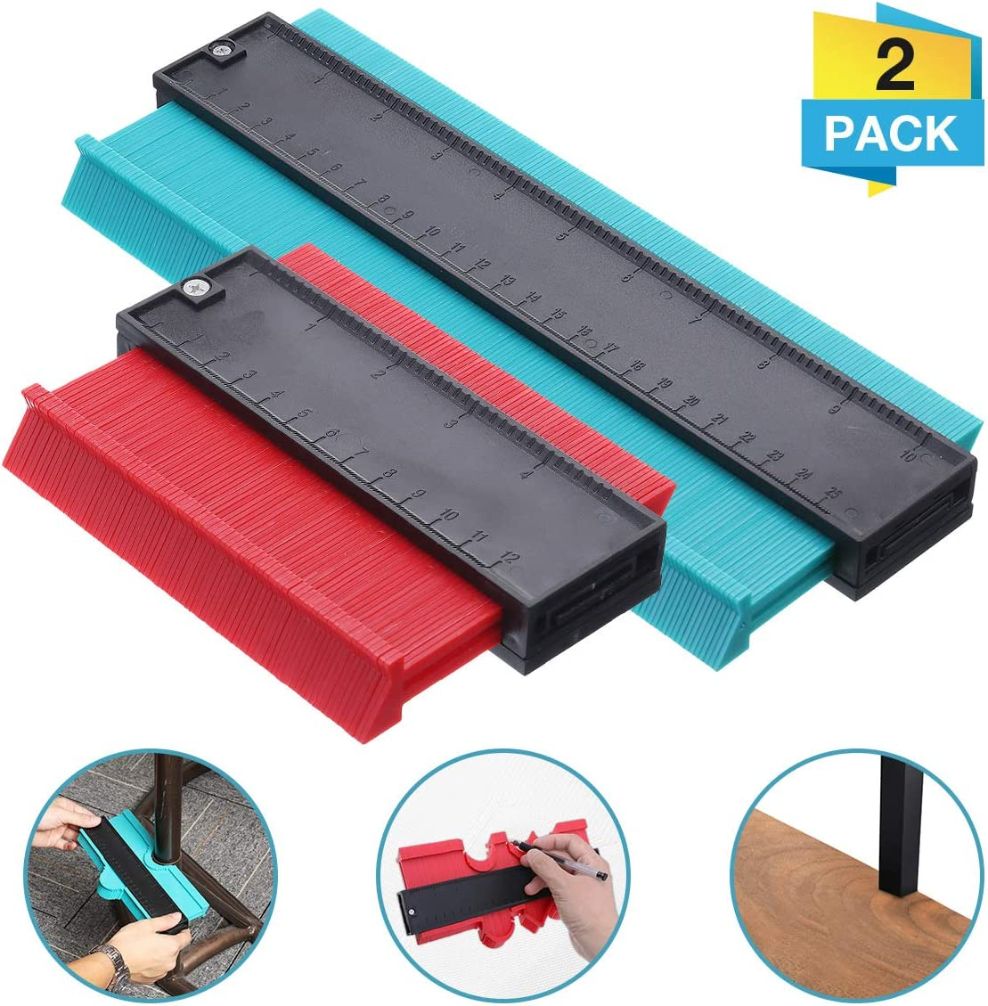 OUTERDO medidor de contorno, duplicador de perfil, regla de contorno, herramienta de medición de copia, duplicador para formas irregulares, herramienta de medición precisa de madera, 2 paquetes