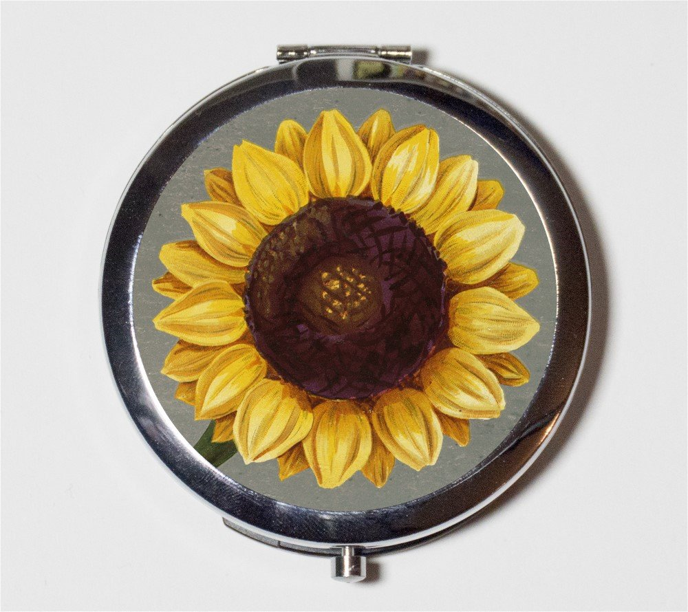 Sunflower Compact Mirror Sun Flower Flowers Floral Pattern Pocket Size for Makeup Cosmetics