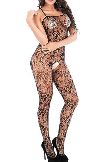 e1c818782ac VivilY Women s Plus Size Crotchless Fishnet Bodystocking Black Full Body  Sexy Bodysuit Lingerie