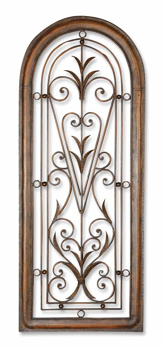 Distressed Dark Brown Over Light Brown Cristy Petite Arched Scroll And Leaf Wall Art