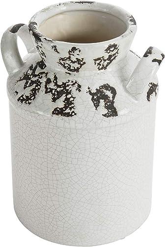 MyGift Antique Rustic White Ceramic Milk Jug Vase with Handle