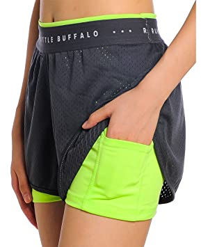 bcd3aa88d6b0 Image Unavailable. Image not available for. Colour: UDIY Women's 2 in 1  Sports Shorts with Inner Pocket ...