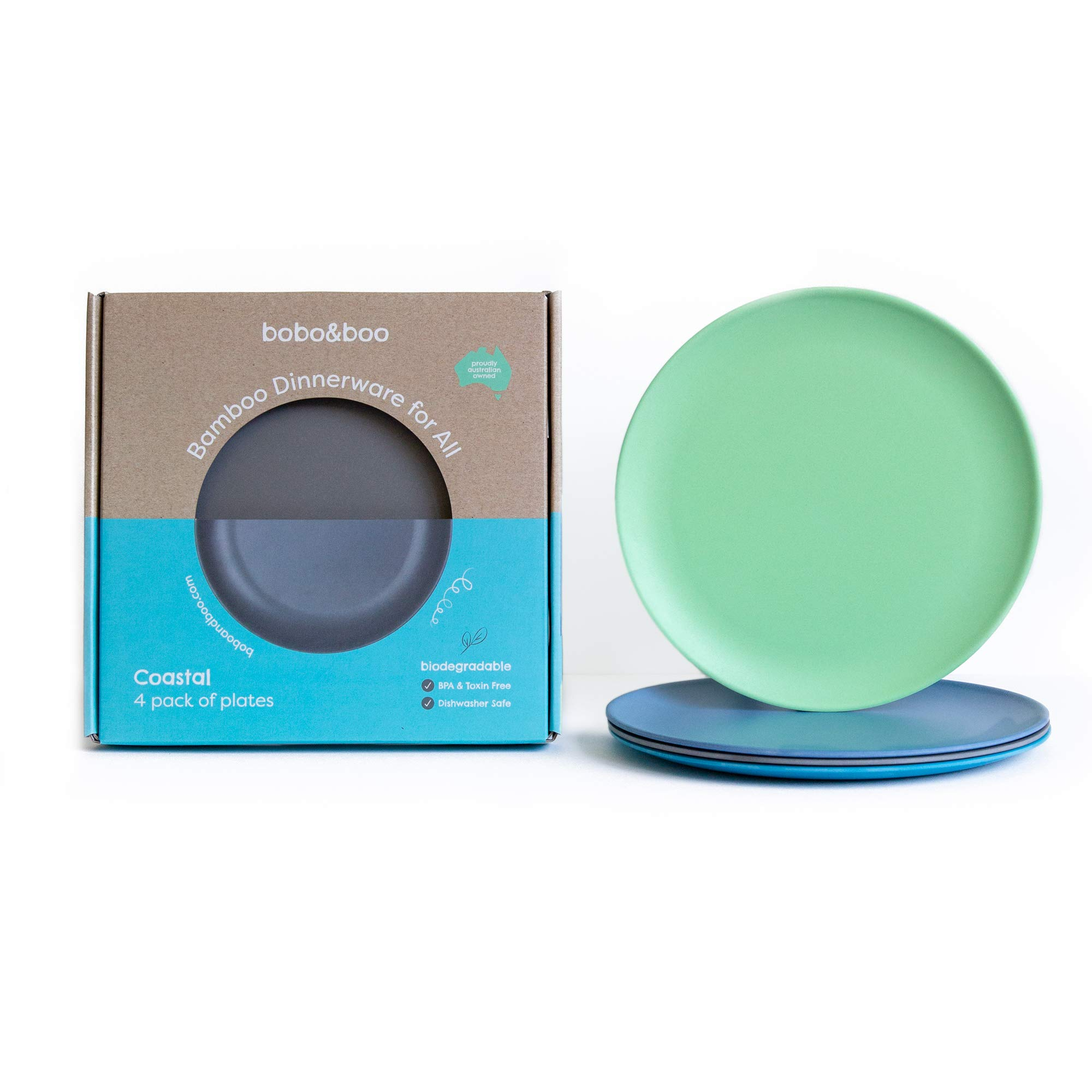 BOBO&BOO Adult-Sized (10inch) Eco Friendly Bamboo Plates for Adults & Kids | 4 Set | Durable Bamboo Dinnerware Set for Home, Picnic & Party Time - BPA Free - Dishwasher Safe - FDA Approved - COASTAL by Bobo&boo