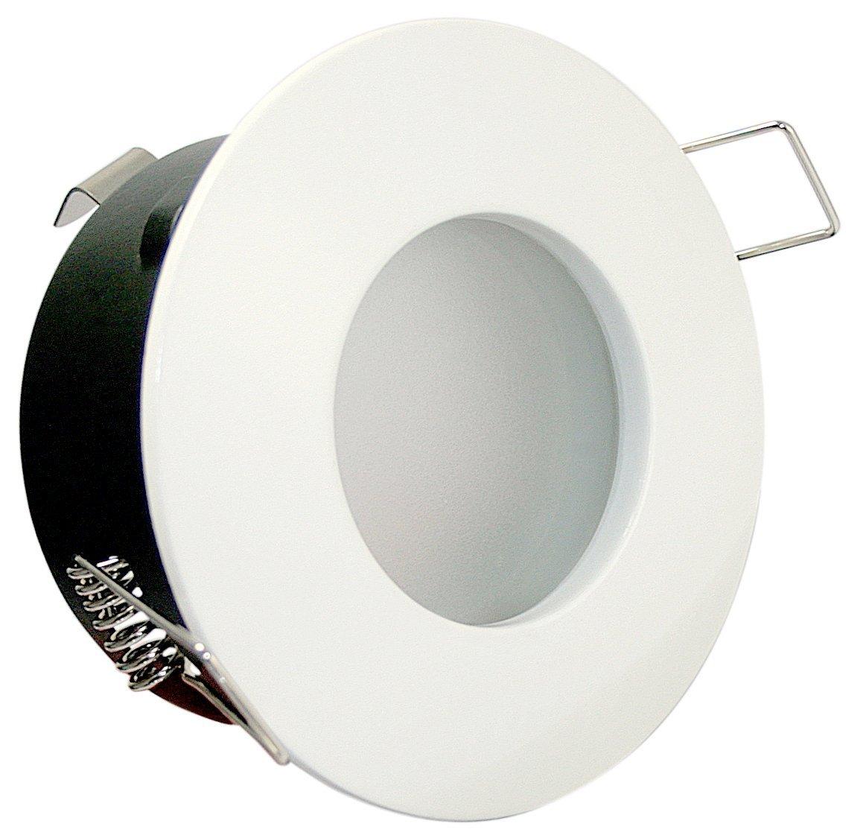 8er Set 5Watt COB LED Badezimmer Einbaustrahler Bädermax 230Volt Deckenleuchte - IP65 - LED Warm-Weiß Farbe  Weiß - Für Bad Dusche und Aussenbereich.