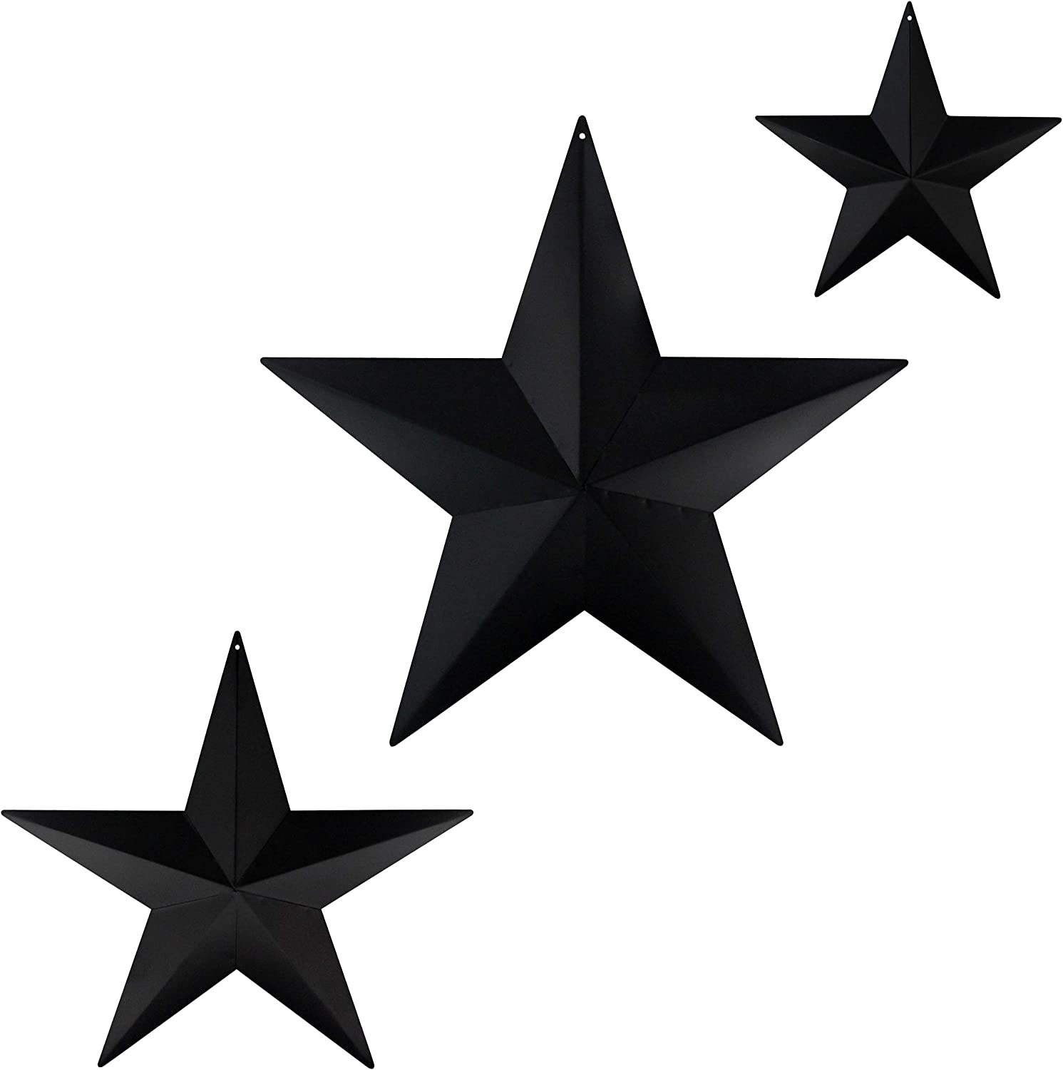 CVHOMEDECO. Primitives Rustic Antique Vintage Gifts Metal Barn Star Wall/Door Decor, 12/8/5.5 Inch, 3 PCS/Set. (Matt Black)