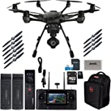 Yuneec Typhoon H Pro Hexacopter with Intel Realsense Collision Avoidance Drone with CGO3+ 4K Camera, ST16, 2 Batteries, Backpack, Wizard Plus, 64GB Micro SD and Jestik Microfiber Cloth