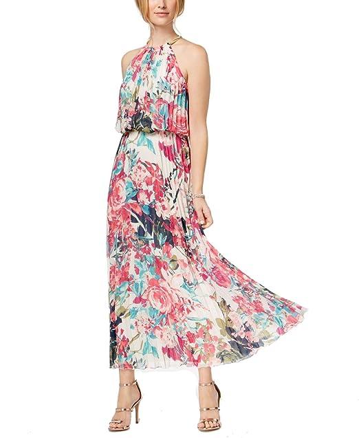 0363c56d08de MSK Womens Petite Pleated Blouson Halter Maxi Dress Pink 14P at Amazon Women's  Clothing store: