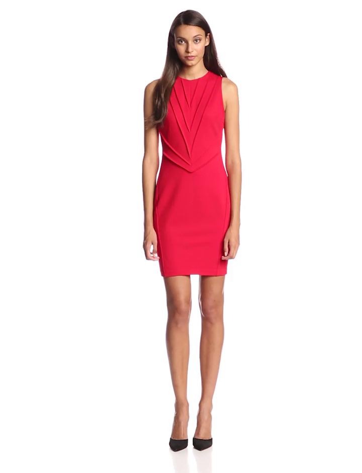 Vince Camuto Women's Sleeveless Dress with Pinktuck Detail, Red, 8
