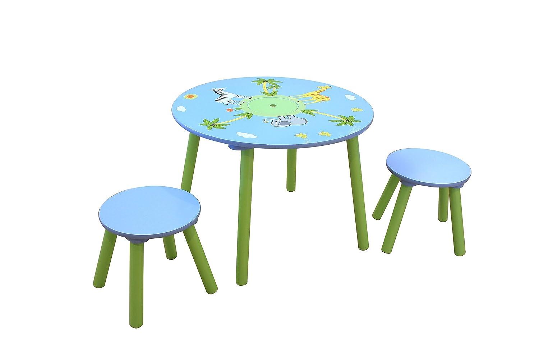 Liberty House Toys-Tavolino e due Safari-Sgabello in legno, colore: multicolore TF5002