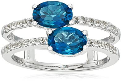 f7fbb44ec Image Unavailable. Image not available for. Color: Sterling Silver Two stone  Oval London Blue Topaz with White Topaz Accent Ring ...